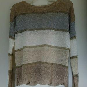 Anna Taylor Loft Gold Strip Loose Knit Sweater